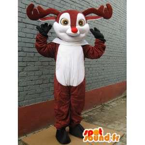 Mascotte Cerf des bois - Petit Nicolas - Mascotte nez rouge pour noel