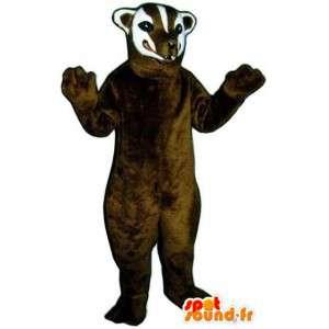 Mascot marrone e bianco donnola - donnola Costume