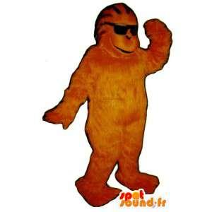 Maskotti oranssi keltainen gorilla - neon Gorilla puku