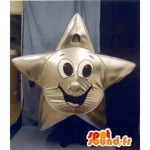 Mascot estrela de prata gigante - estrela da fantasia de prata