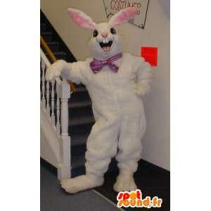 Wit konijn mascotte en roze met grote oren