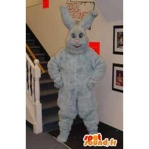 Coniglio grigio mascotte tutto peloso - coniglio grigio costume