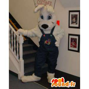 Hvid hund maskot overall - Kæmpe hundedragt - Spotsound maskot