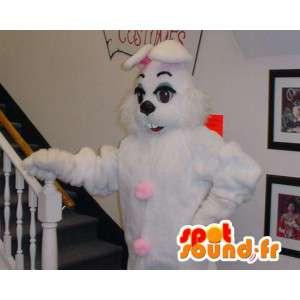Hvit kanin maskot og gigantiske rosa - kanin drakt