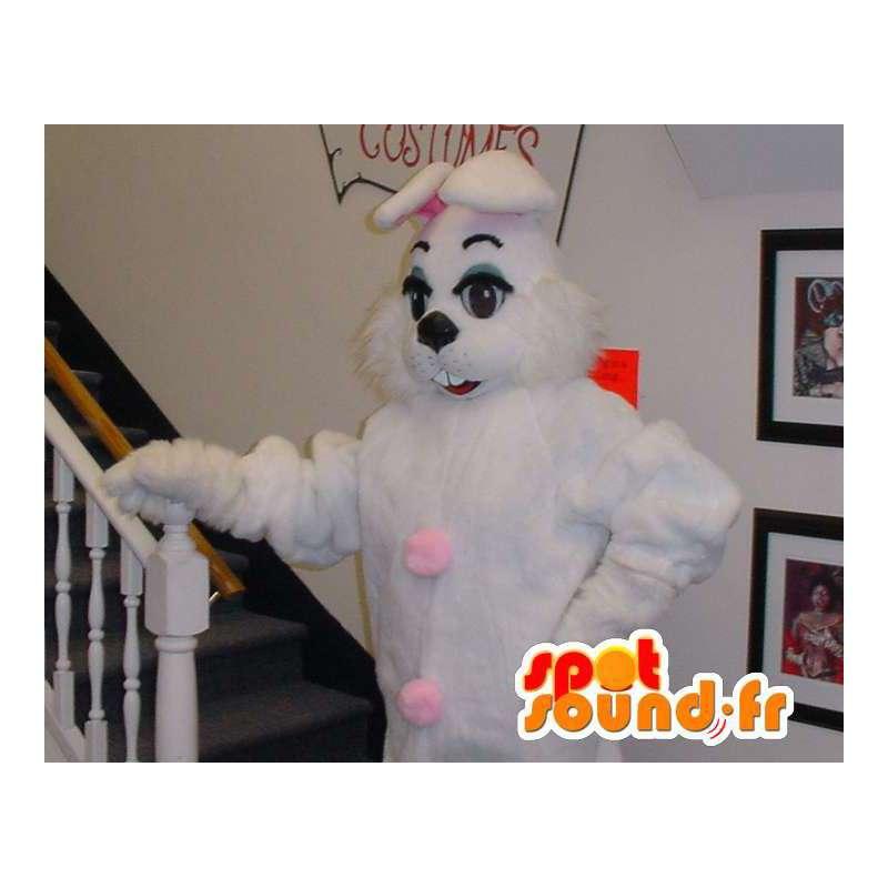 Mascot bunny pink and white giant - rabbit costume - MASFR003304 - Rabbit mascot