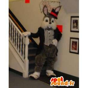Gris mascota del conejo blanco y vestido con un esmoquin - MASFR003305 - Mascota de conejo