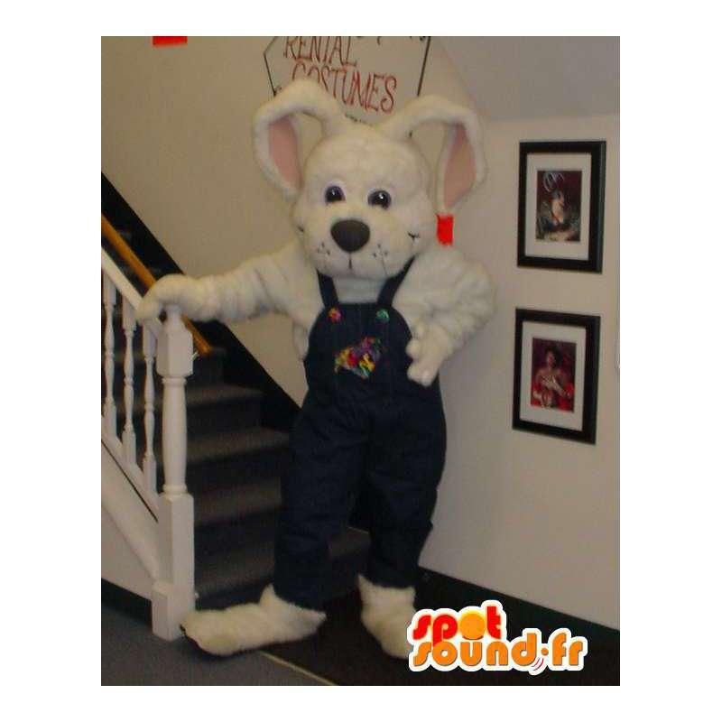 Mascotte de lapin blanc en salopette - Costume de lapin - MASFR003307 - Mascotte de lapins