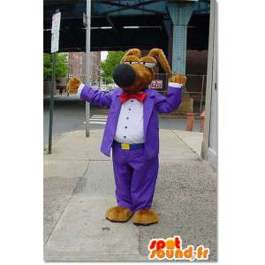 Hund maskot kledd i lilla tegneserie mote dress - MASFR003310 - Dog Maskoter