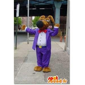 Pies maskotka ubrana w fioletowy kostium kreskówki mody - MASFR003310 - dog Maskotki