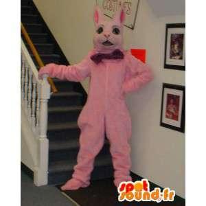 Jättiläinen vaaleanpunainen jänis maskotti - vaaleanpunainen jänis Costume