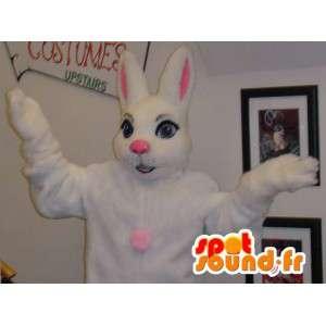 白ウサギのマスコットと巨大なピンク - ウサギのコスチューム