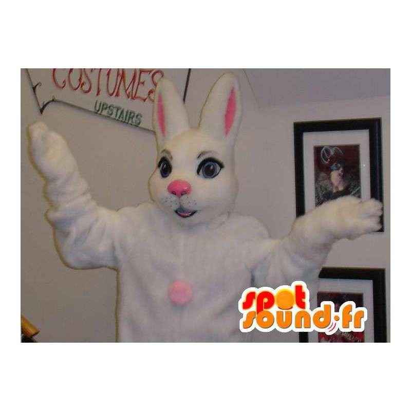Mascotte de lapin blanc et rose géant - Costume de lapin - MASFR003313 - Mascotte de lapins