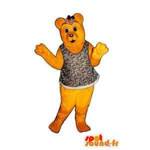 Mascote urso amarelo com uma t-shirt com flores - Fantasia de Urso - MASFR003323 - mascote do urso