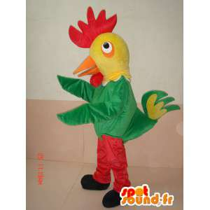Mascot rooster farm yard and the red yellow and green while disguised