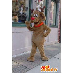 Julenissens reinsdyr maskot - brun reinsdyr kostyme