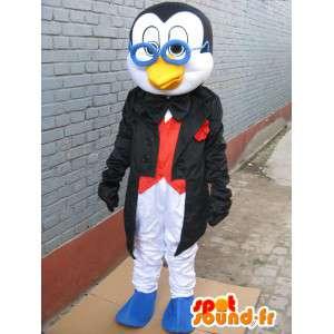 眼鏡をかけたマスコットLinuxペンギン-教授の衣装-MASFR00255-ペンギンのマスコット