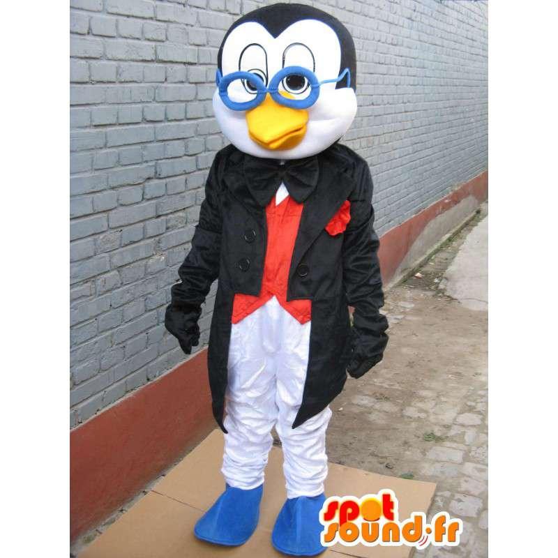 Mascotte Pingouin linux à lunettes - Costume de professeur - MASFR00255 - Mascottes Pingouin