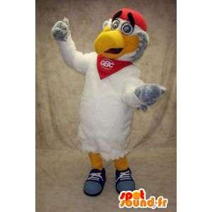 Maskotti valkoinen ja keltainen ja punainen lintu muhkeat
