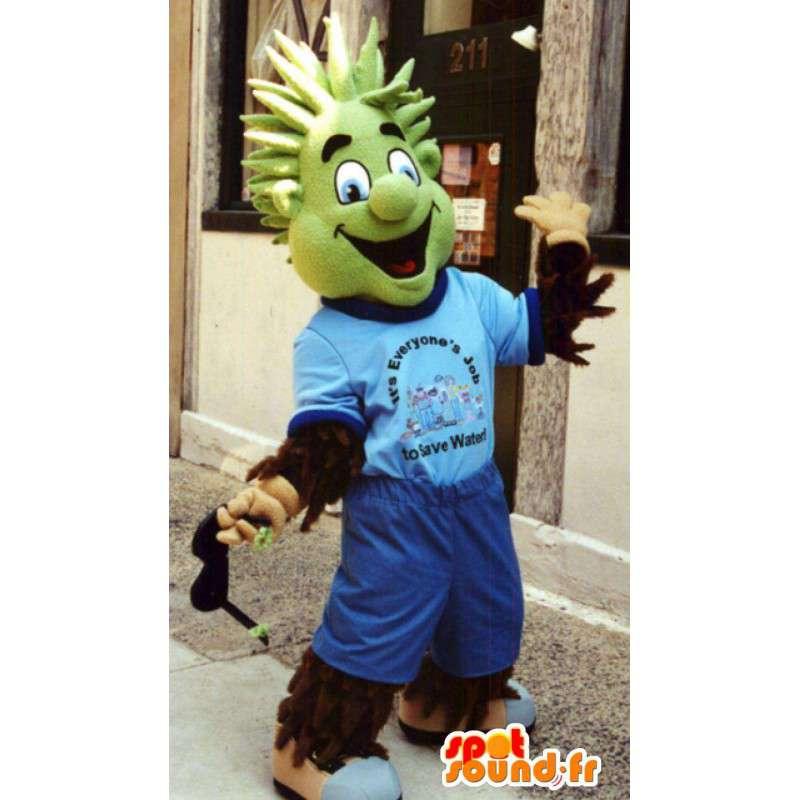 Mascot haariger Mann mit einem grünen Kopf in Blau gekleidet - MASFR003350 - Menschliche Maskottchen