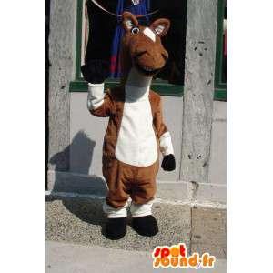 Mascot caballo blanco y marrón - caballo de peluche del traje