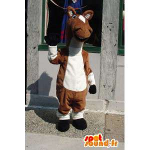 Mascot horse brown and white - Costume plush horse