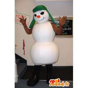Mascotte de bonhomme de neige blanc, méchant