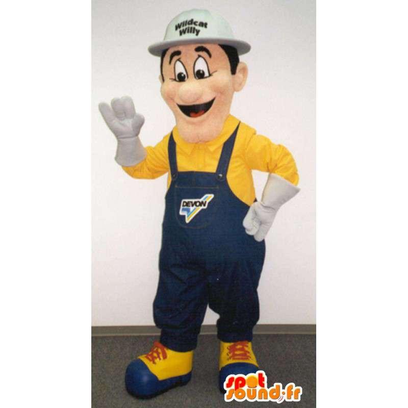 Mascot man in blue overalls - MASFR003370 - Human mascots
