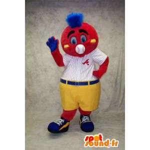 Mascotte de bonhomme rouge habillé en tenue de baseball