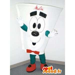 Biały kubek z tworzywa sztucznego w kształcie maskotki