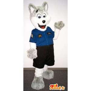 Grå og hvid ulvemaskot klædt i sælgerdragt - Spotsound maskot