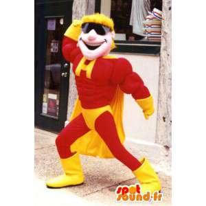 Gul och röd superhjälte-maskot - Spotsound maskot