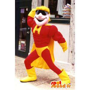 Mascot amarillo y rojo super héroe - MASFR003389 - Mascota de superhéroe