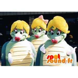緑と黄色のカメ3匹のマスコット-3つの衣装のパック-MASFR003395-カメのマスコット