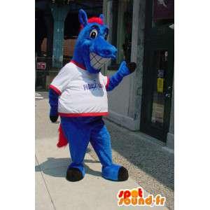 Blauw paard mascotte - Paard Costume