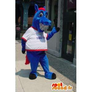 Niebieski koń maskotka - jazda Costume