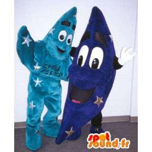 Mascottes d'étoile et de lune bleues - Pack de 2 costumes