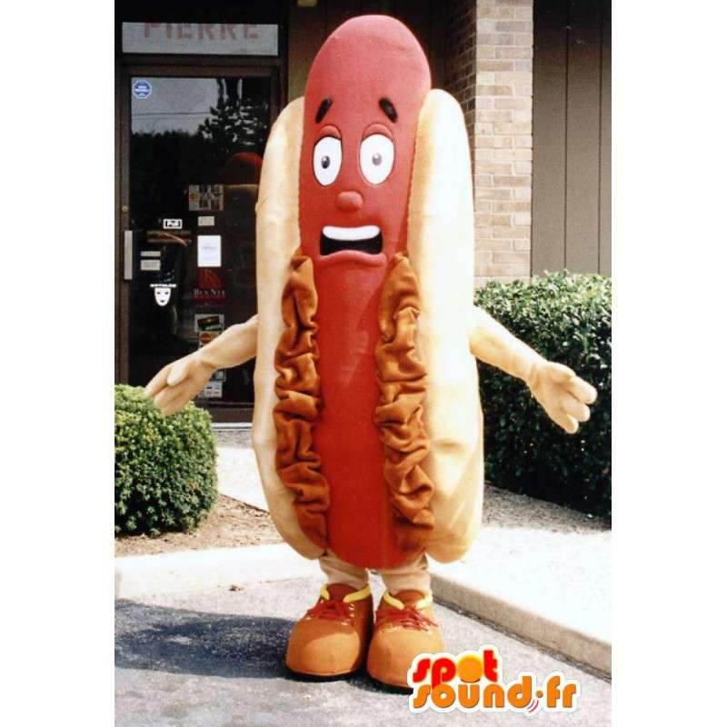 Kæmpe hotdog-maskot - Hotdog-kostume - Spotsound maskot
