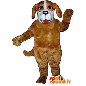 Beige en witte hond mascotte teddy - Dog Costume - MASFR003410 - Dog Mascottes