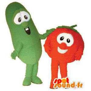 Μασκότ φράουλα και τα πράσινα φασόλια - Πακέτα 2 κοστούμια