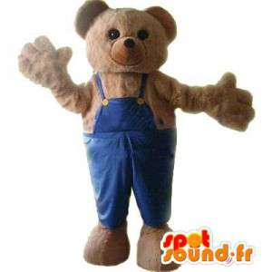 Mascot Bear in overalls - Costume teddy bear - MASFR003444 - Bear mascot