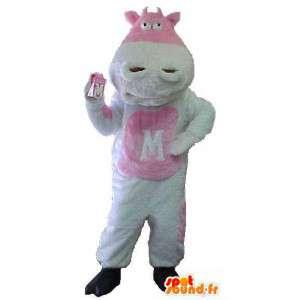 牛のマスコット、白とピンク-牛のコスチューム-MASFR003465-牛のマスコット