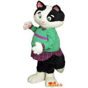 Zwart-witte kat mascotte bedrijf groen en violet - MASFR003468 - Cat Mascottes