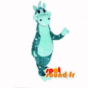 Blau Dinosaurier-Maskottchen - Kostüm Dinosaurier-Karikatur - MASFR002975 - Maskottchen-Dinosaurier