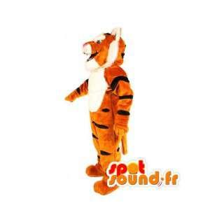 Gestreifte orange Tiger-Maskottchen schwarz - Kostüm Tiger - MASFR003496 - Tiger Maskottchen