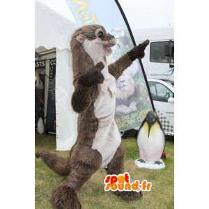 Weasel mascotte marrone e bianco - Costume lontra