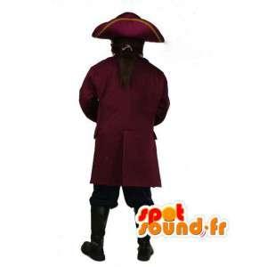Pirata de la mascota con su traje y sombrero - Capitán - MASFR003499 - Mascotas de los piratas