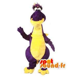 Maskottchen-gelb und lila Dinosaurier - Dinosaurier-Kostüm - MASFR003506 - Maskottchen-Dinosaurier