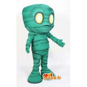 Mascot momia verde - de dibujos animados disfraz de momia
