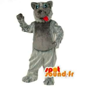 Grå og hvid ulvemaskot helt behåret - Ulv-kostume - Spotsound