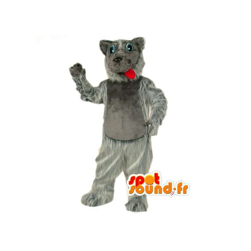 Mascot wolf gray and white all hairy - Wolf Costume - MASFR003508 - Mascots Wolf